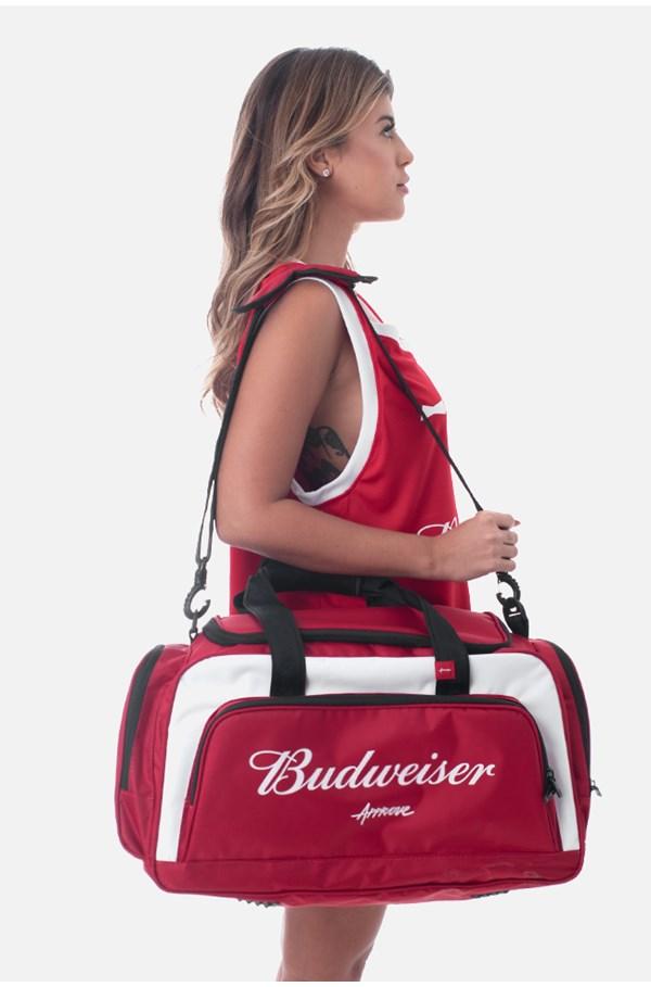 Bolsa Gym Approve X Budweiser Vermelha E Branca