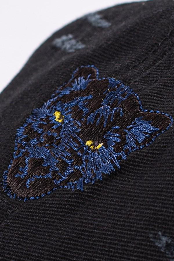 Boné Dad Hat Approve Animals Panther Preto com Puídos