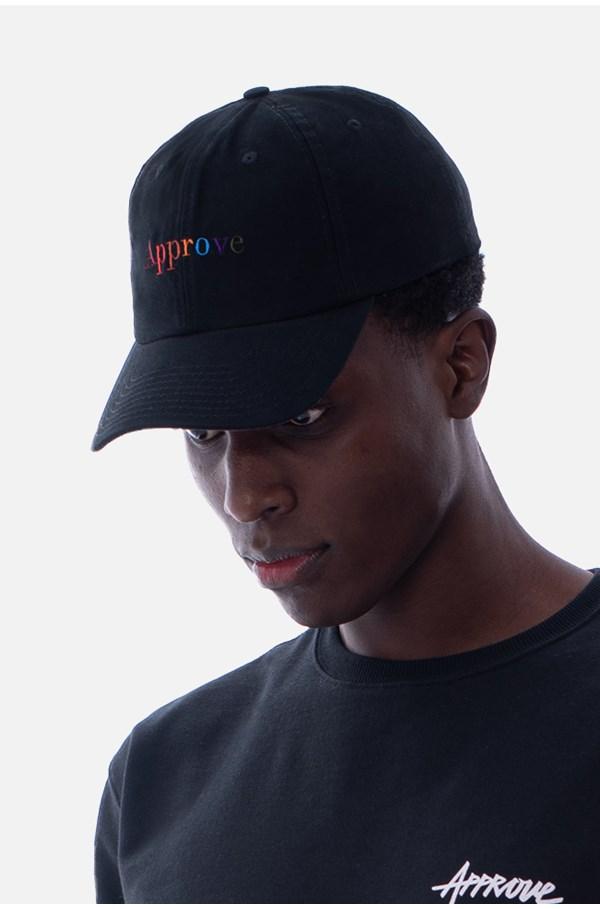 Boné Dad Hat Approve Rainbow Preto