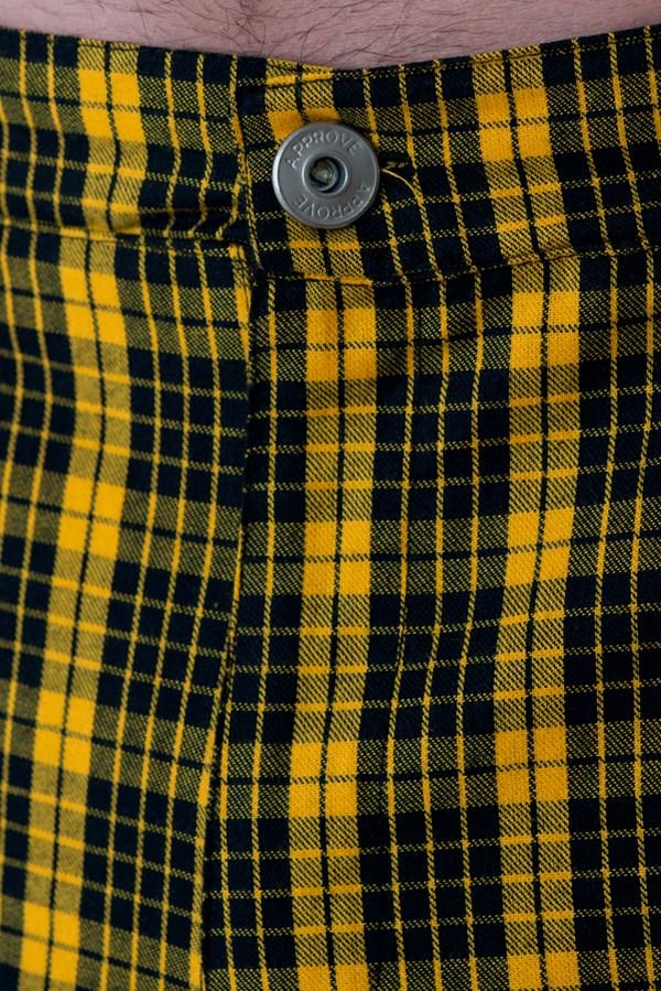 Calça Alfaiataria Slim Approve Canvas Xadrez Amarela