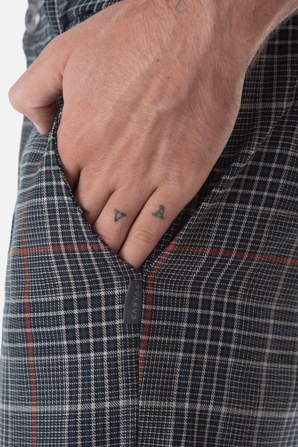 Calça Alfaiataria Slim Approve Canvas Xadrez Azul Marinho