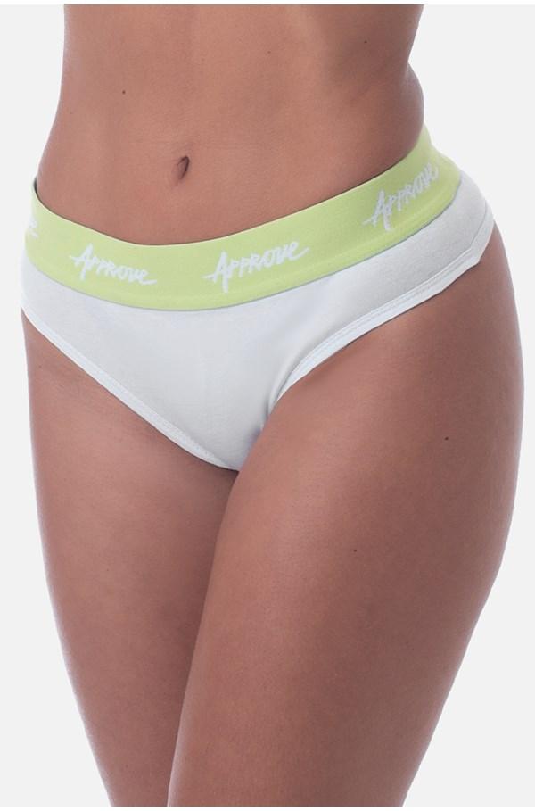 Calcinha Approve Branca Com Verde