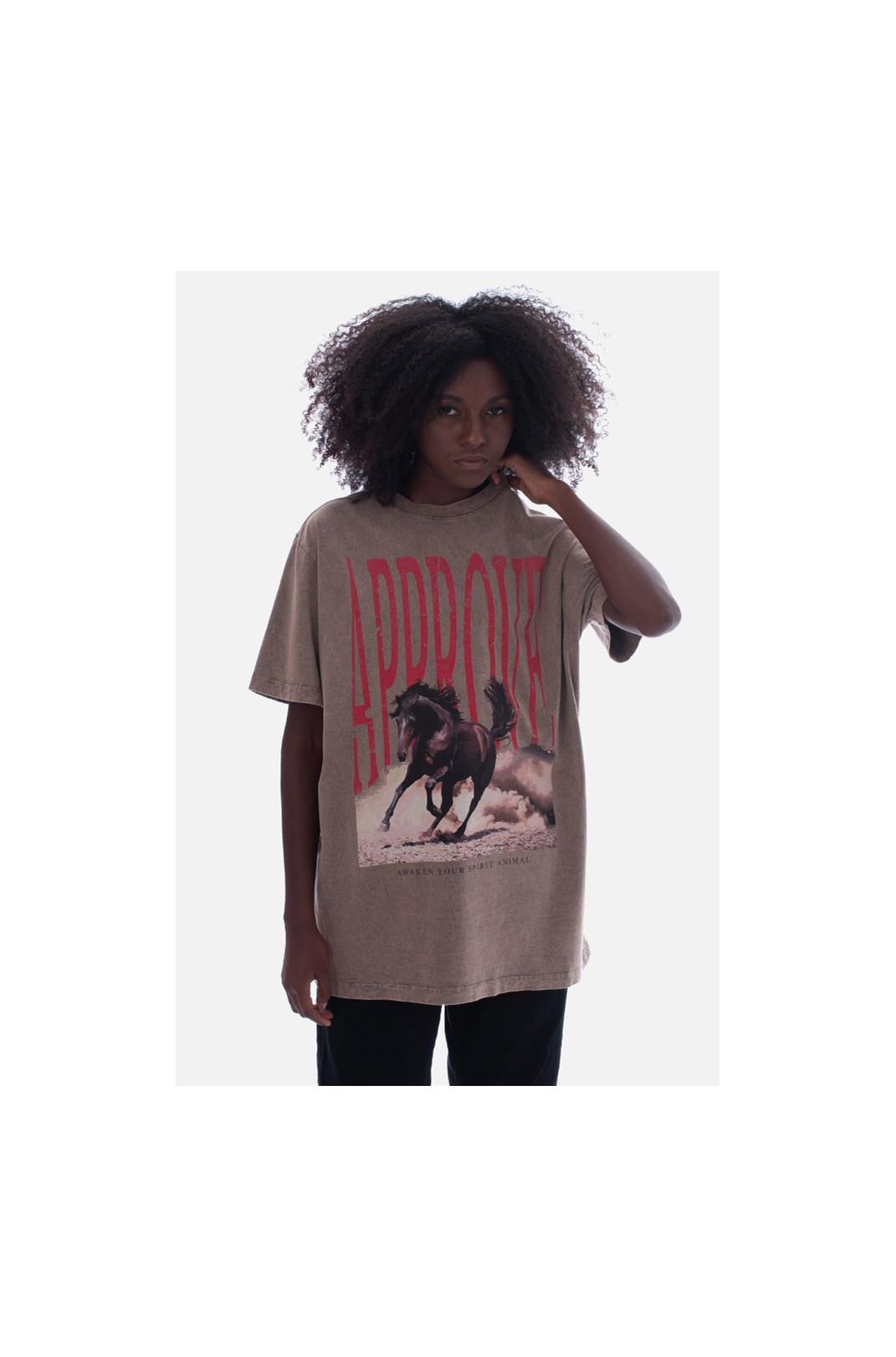 Camiseta Bold Approve Animals Horse Marrom Estonado