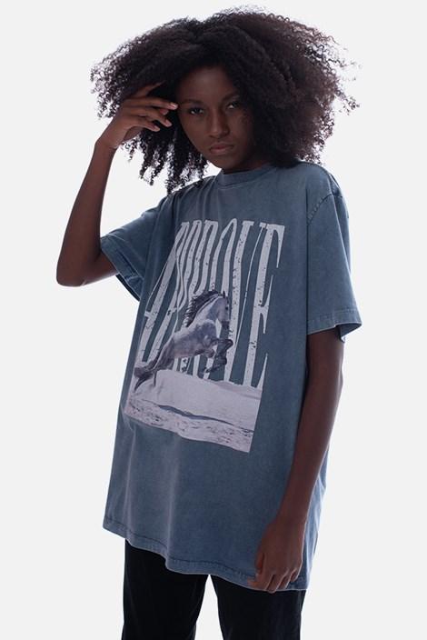Camiseta Bold Approve Animals White Horse Azul Estonado