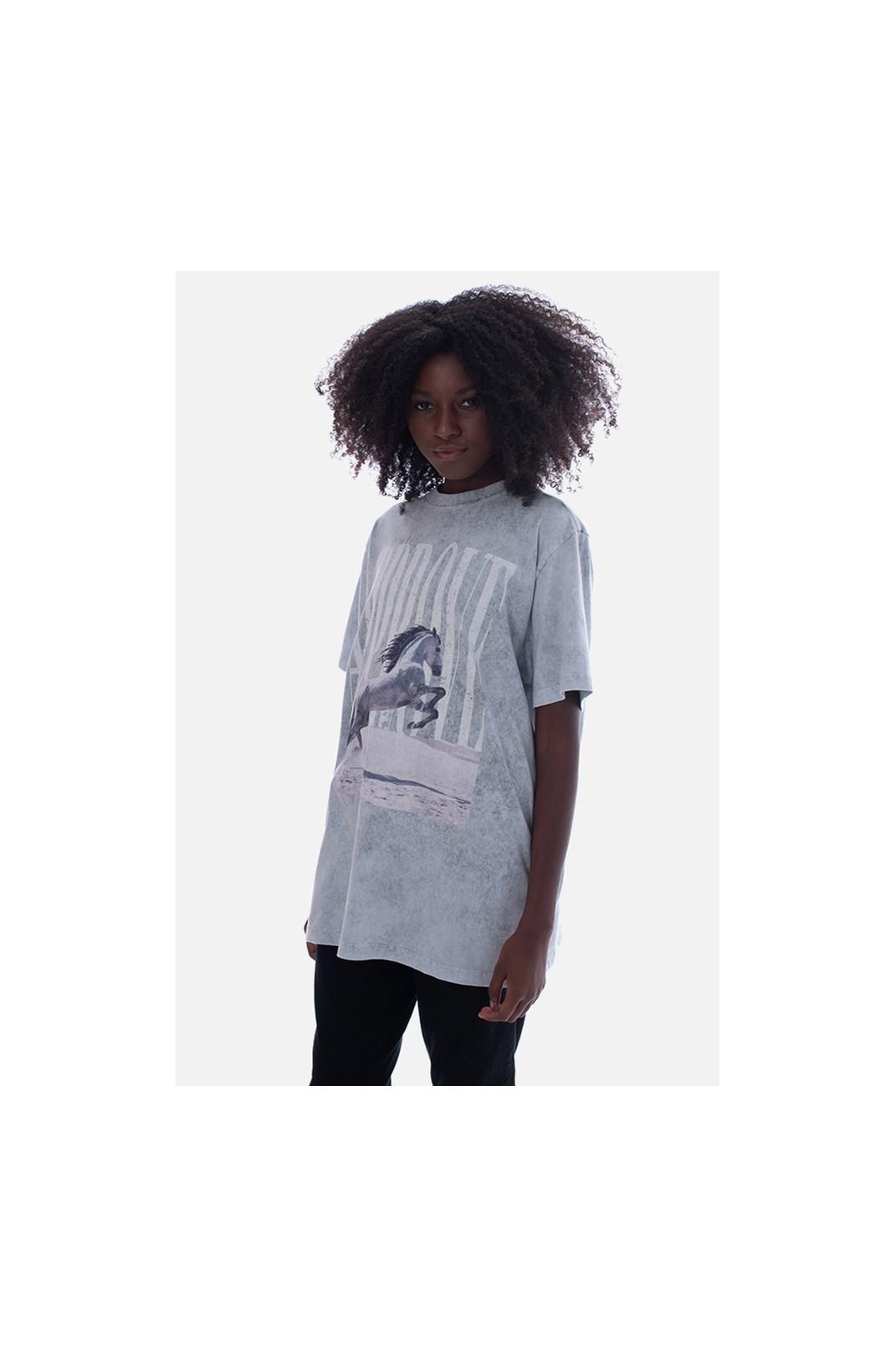 Camiseta Bold Approve Animals White Horse Cinza Marmorizado