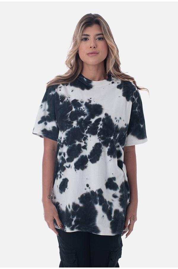Camiseta Bold Approve Basic Tie Dye Branco E Preto