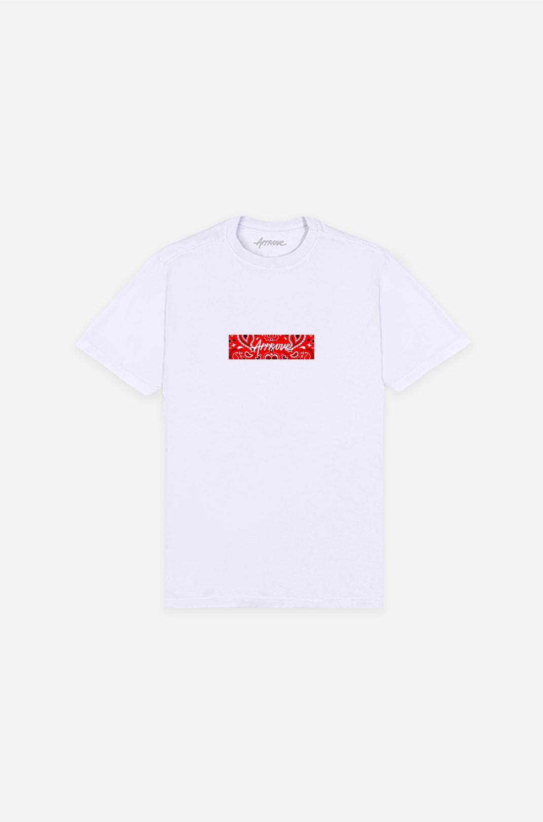 Camiseta Bold Approve Cashmere Branca E Vermelho