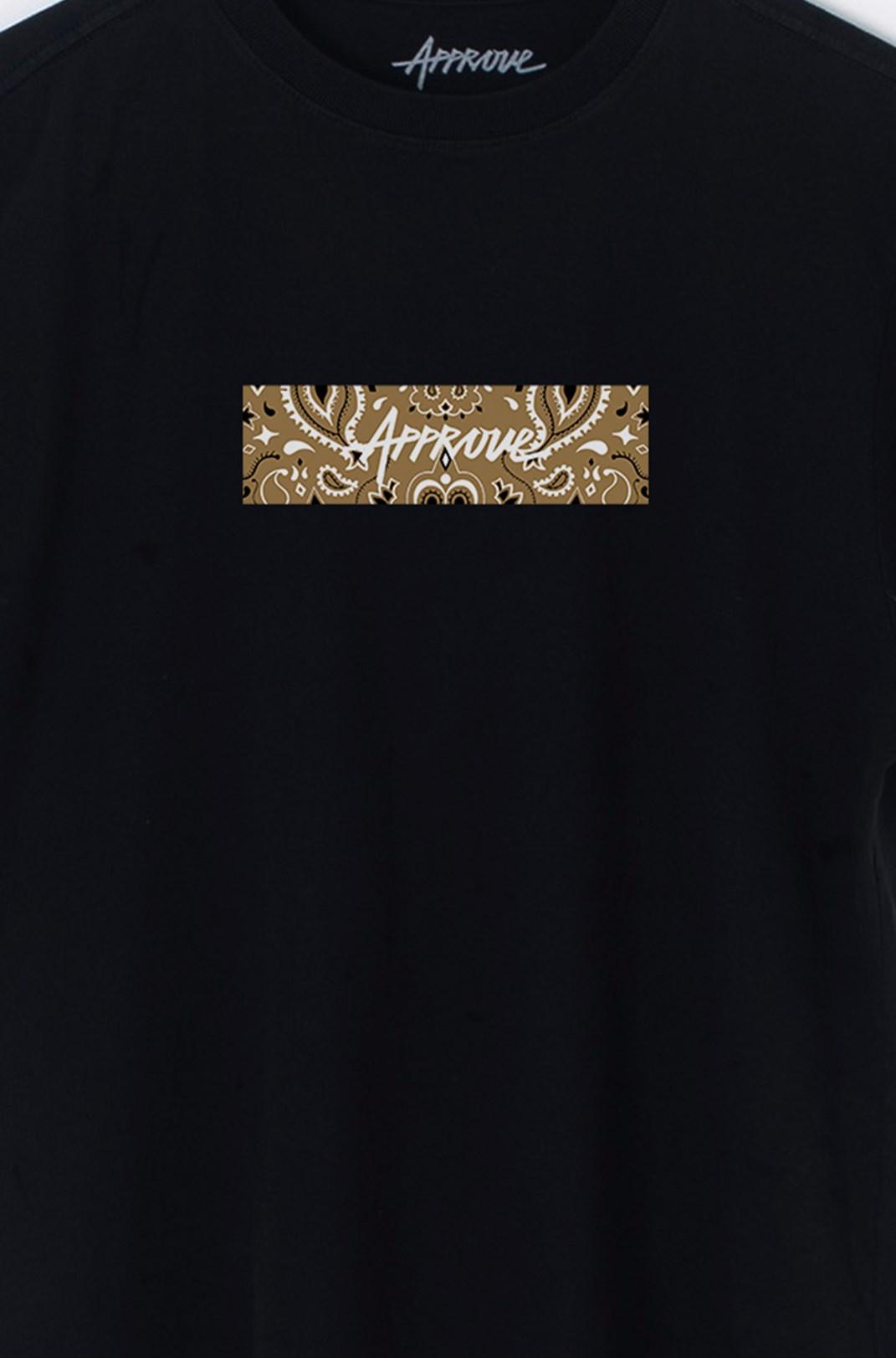 Camiseta Bold Approve Cashmere Preta E Bege