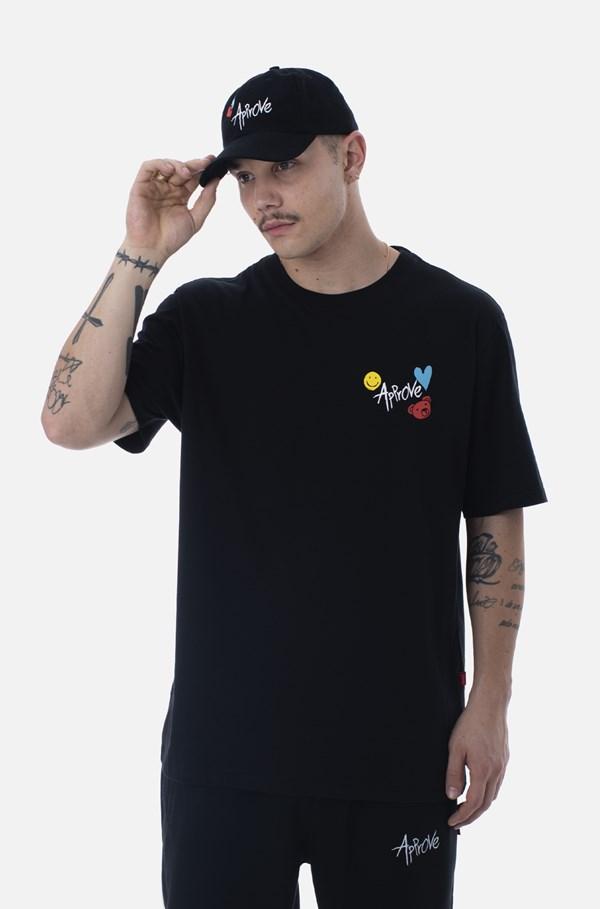 Camiseta Bold Approve Doodle Preta