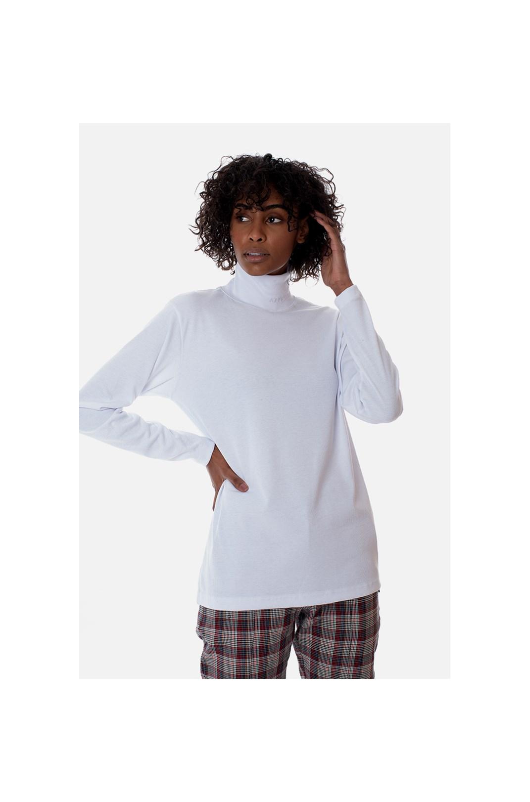 Camiseta Manga Longa Gola Alta Approve Canvas Branca