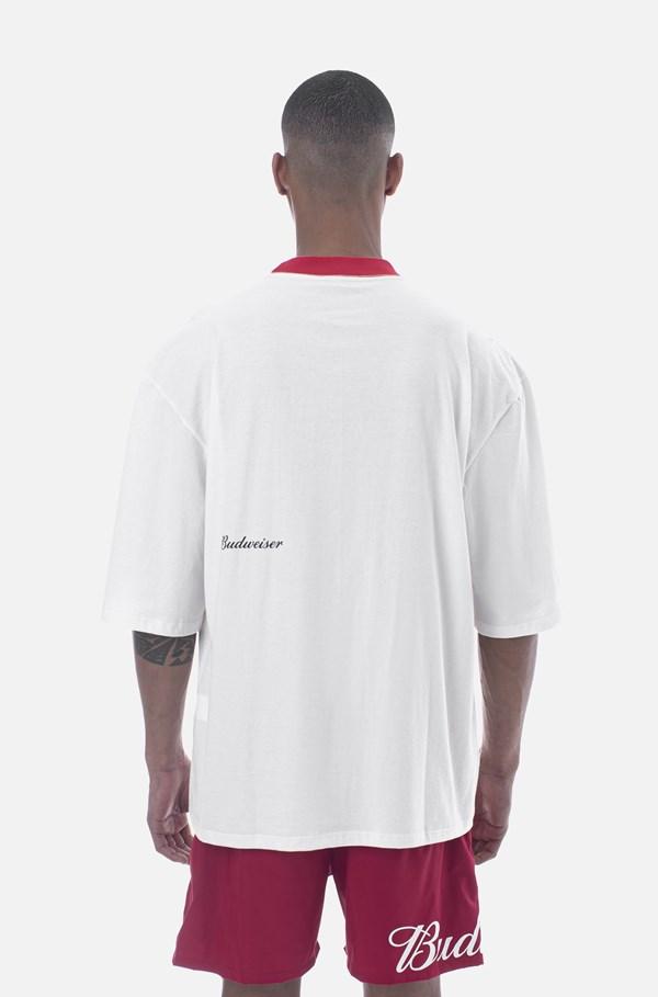 Camiseta Oversize Approve X Budweiser Off White E Vermelho