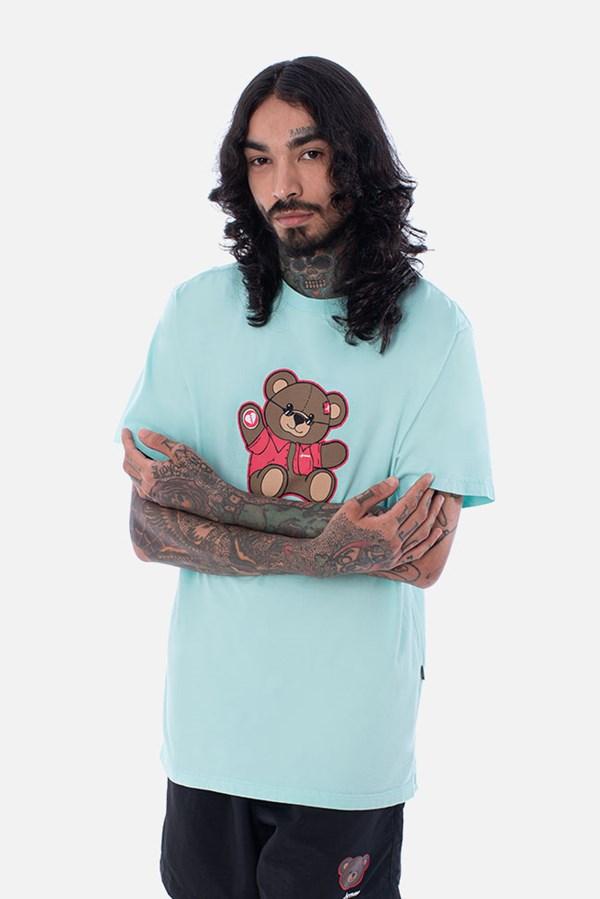 Camiseta Regular Approve Bear Summer Verde Água