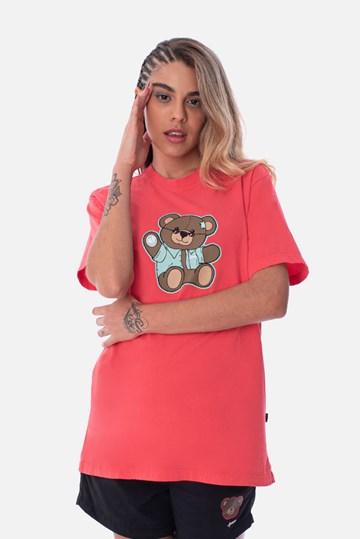 Camiseta Regular Approve Bear Summer Vermelha