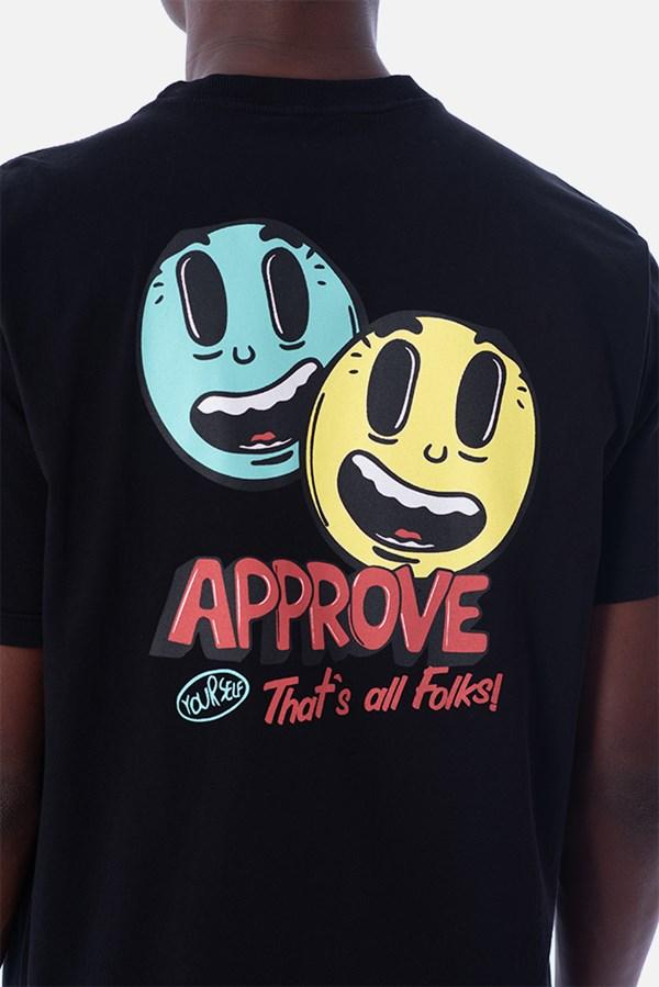 Camiseta Regular Approve Cartoon Preta