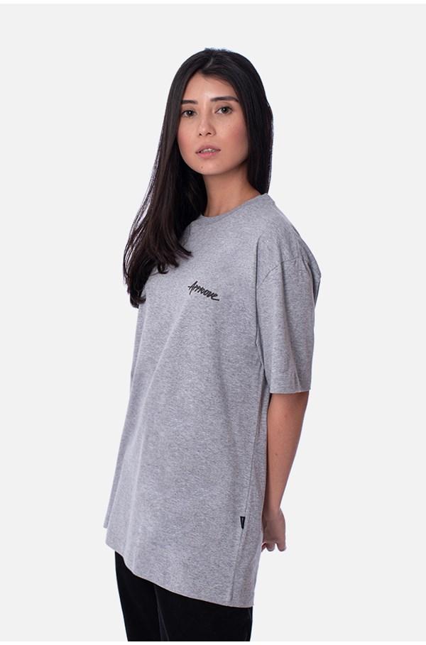 Camiseta Regular Approve Classic Logo Cinza Mescla