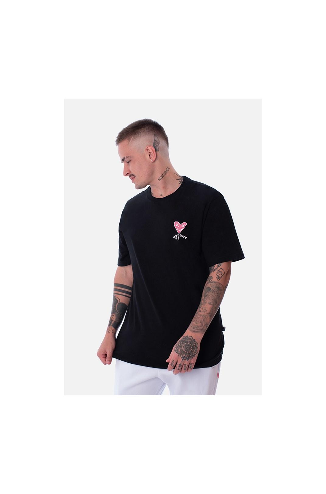 Camiseta Regular Approve Heart Basic Preta