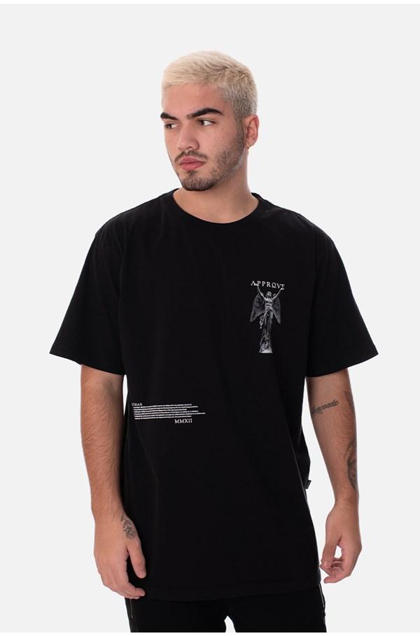 Camiseta Regular Approve Ruínas Angel Statue Preta