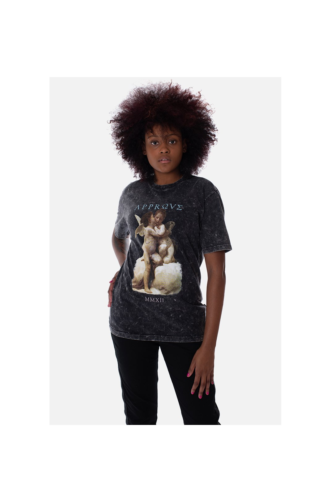 Camiseta Regular Approve Ruínas Baby Angel Cinza Marmorizada
