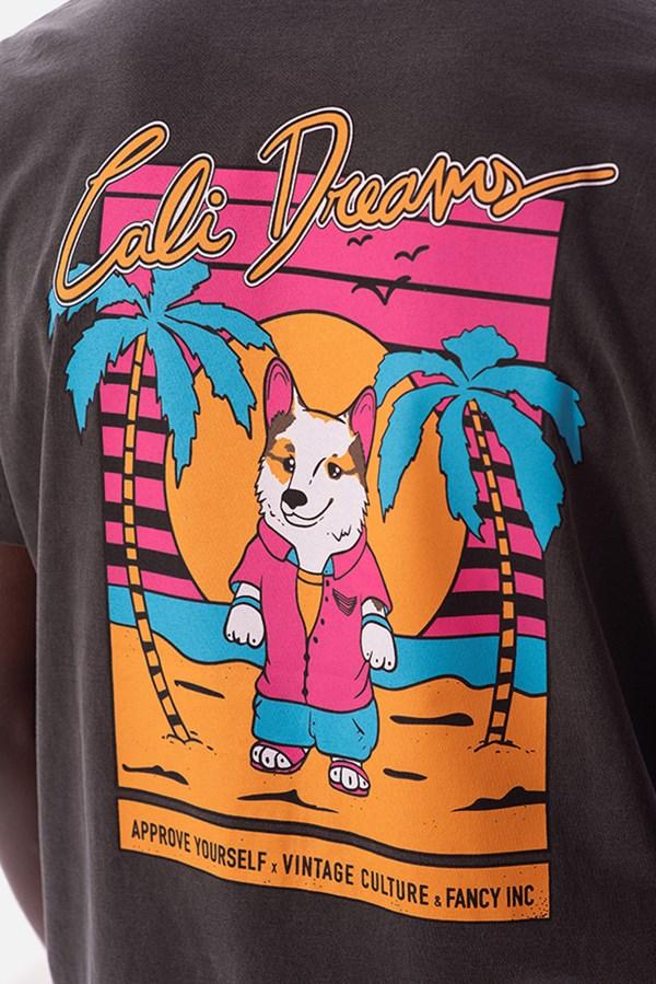 Camiseta Regular Approve X Vintage Cali Dreams Cinza Chumbo
