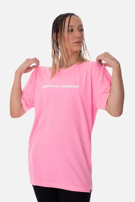 Camiseta Regular Approve Yourself Rosa Neon