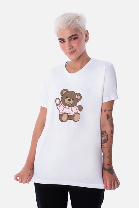 Camiseta Slim Approve Bear by Picon Branca