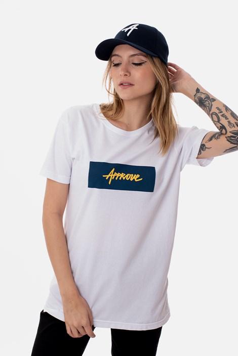Camiseta Slim Approve Classic Branca e Azul Marinho