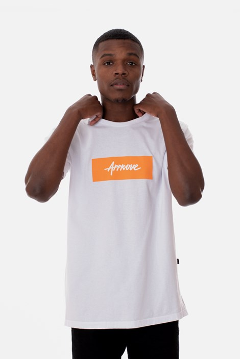 Camiseta Slim Approve Classic Branca e Laranja