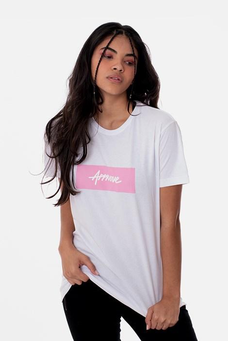 Camiseta Slim Approve Classic Branca e Rosa