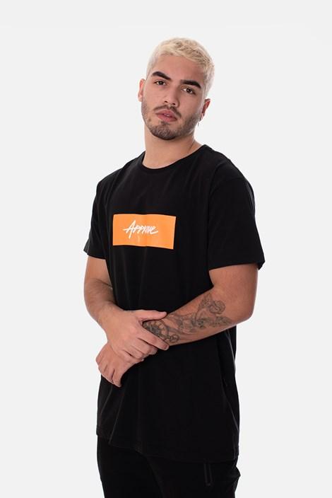 Camiseta Slim Approve Classic Preta e Laranja