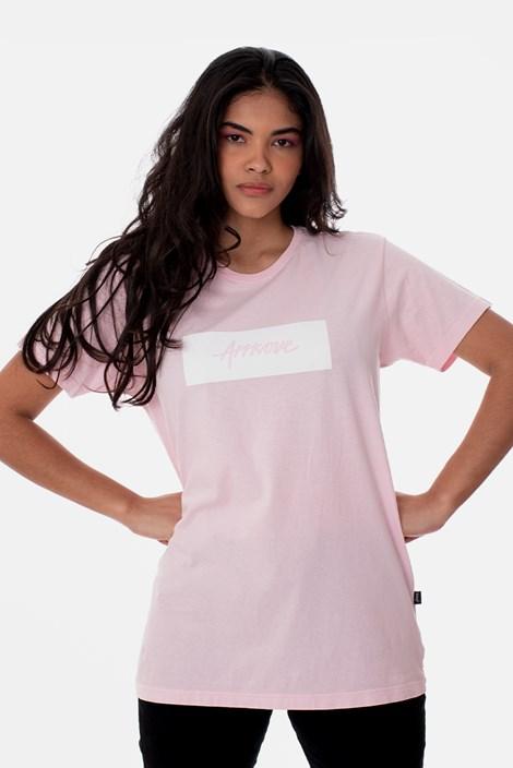 Camiseta Slim Approve Classic Rosa e Branca