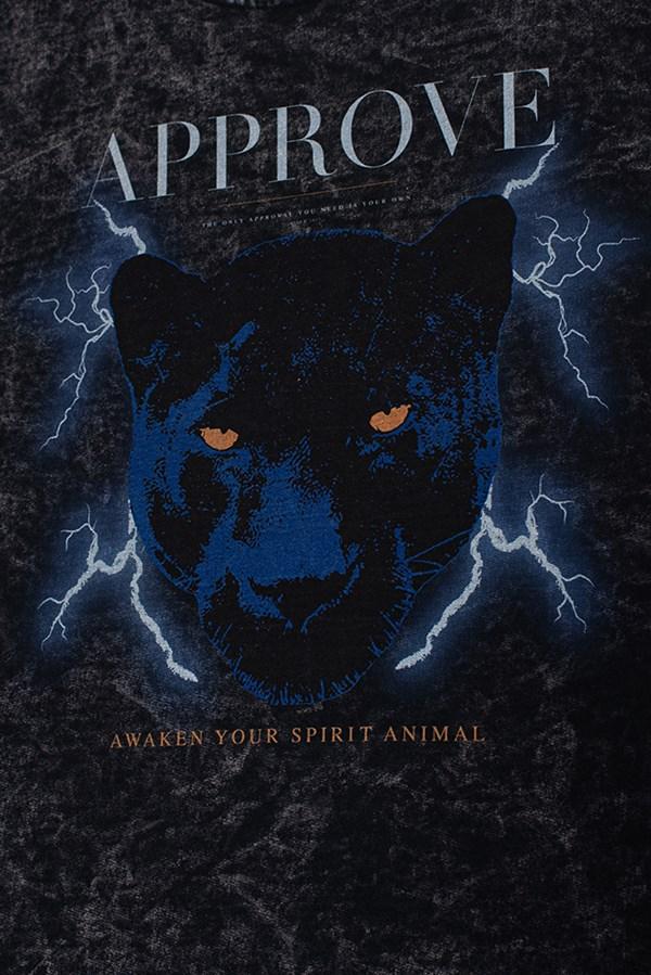 Cropped Bold Approve Animals Panther Preto Marmorizado