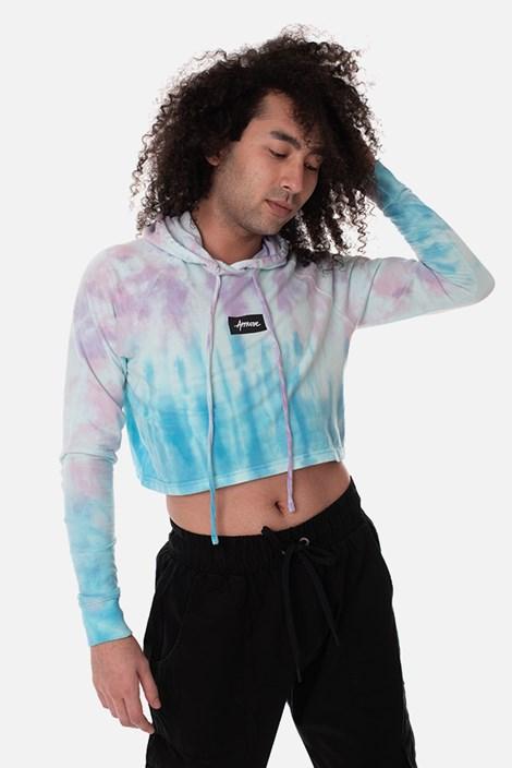 Cropped Com Capuz Manga Longa Approve Tie Dye Skypurple