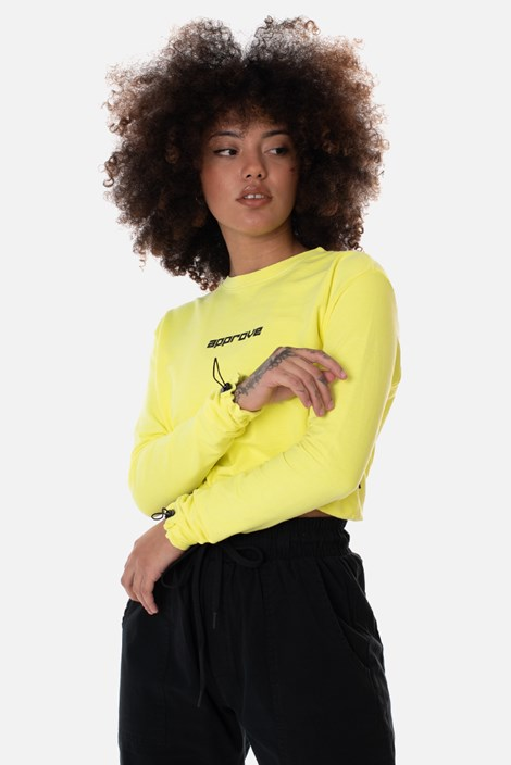 Cropped Manga Longa Approve Flash Amarelo Neon