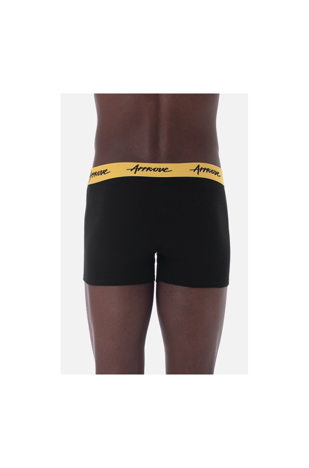 Cueca Boxer Approve Preta com Amarelo
