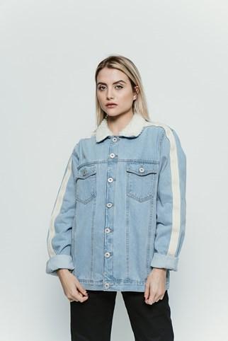 Jaqueta Approve Jeans Claro Com Faixa Off White