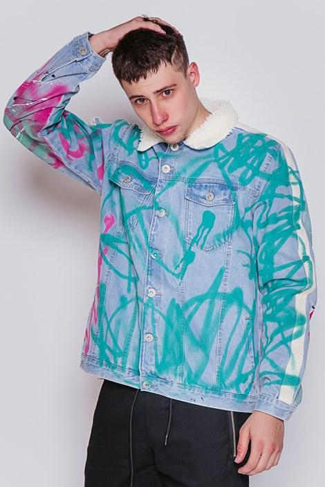 Jaqueta Jeans Approve Lab Canvas com Faixa Off White
