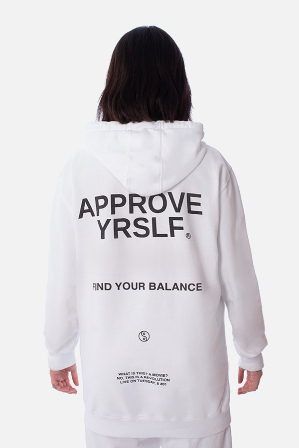 Moletom Canguru Approve Find Your Balance Branco
