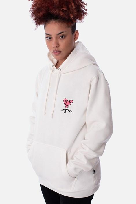 Moletom Canguru Approve Lp Heart Basic Off White
