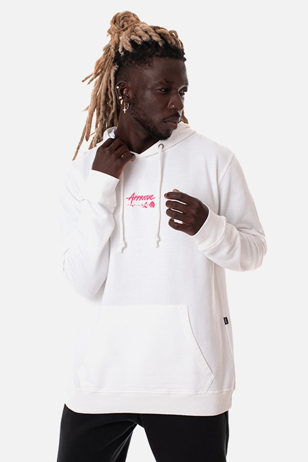 Moletom Canguru Approve Upsidedown Rose Off White