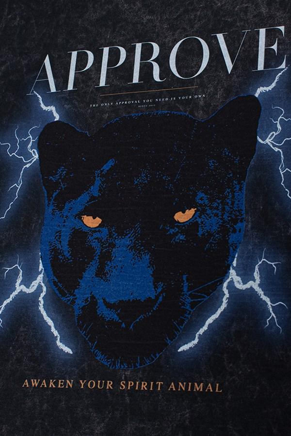 Moletom Careca Approve Animals Panther Preto Marmorizado