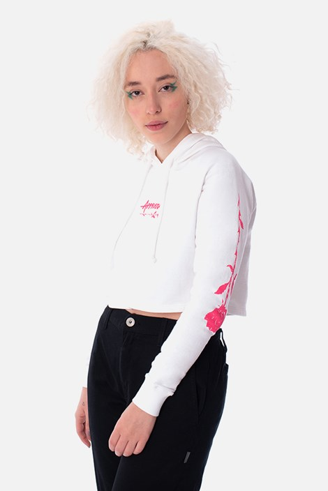 Moletom Cropped Approve Upsidedown Rose Off White