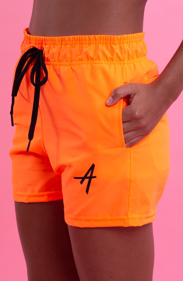 Shorts College Approve Laranja Neon