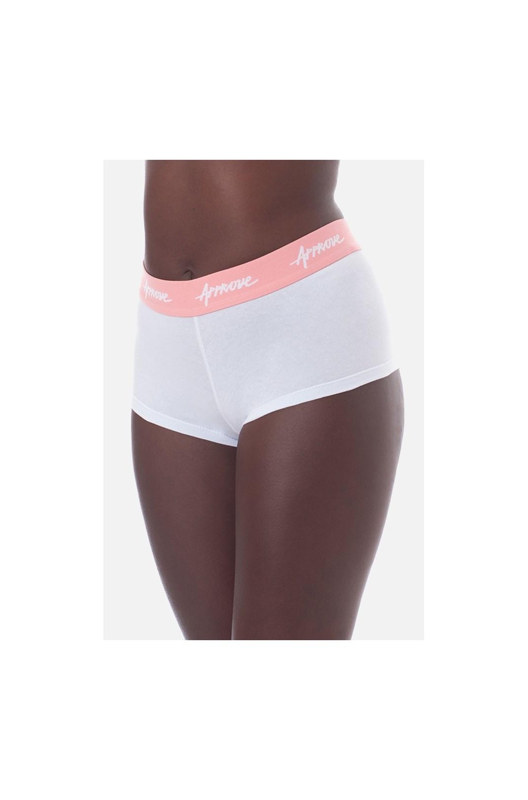 Shorts Underwear Approve Branco Com Rosa