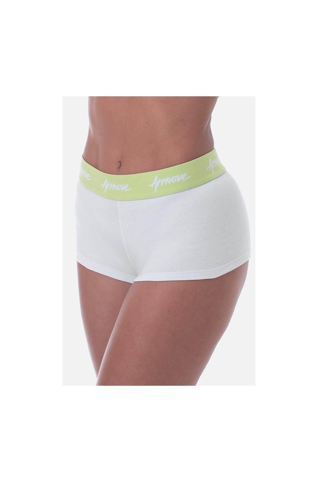 Shorts Underwear Approve Branco Com Verde