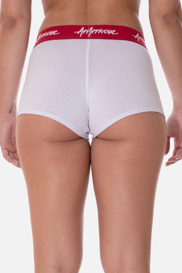 Shorts Underwear Approve Branco Com Vermelho