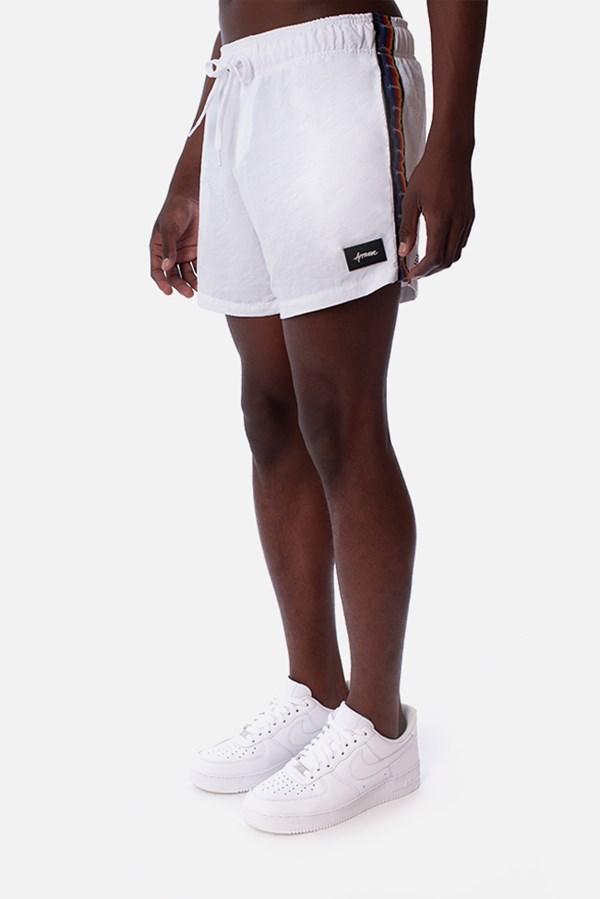 Shorts Unissex Approve Pixels&Pills Branco com Faixas
